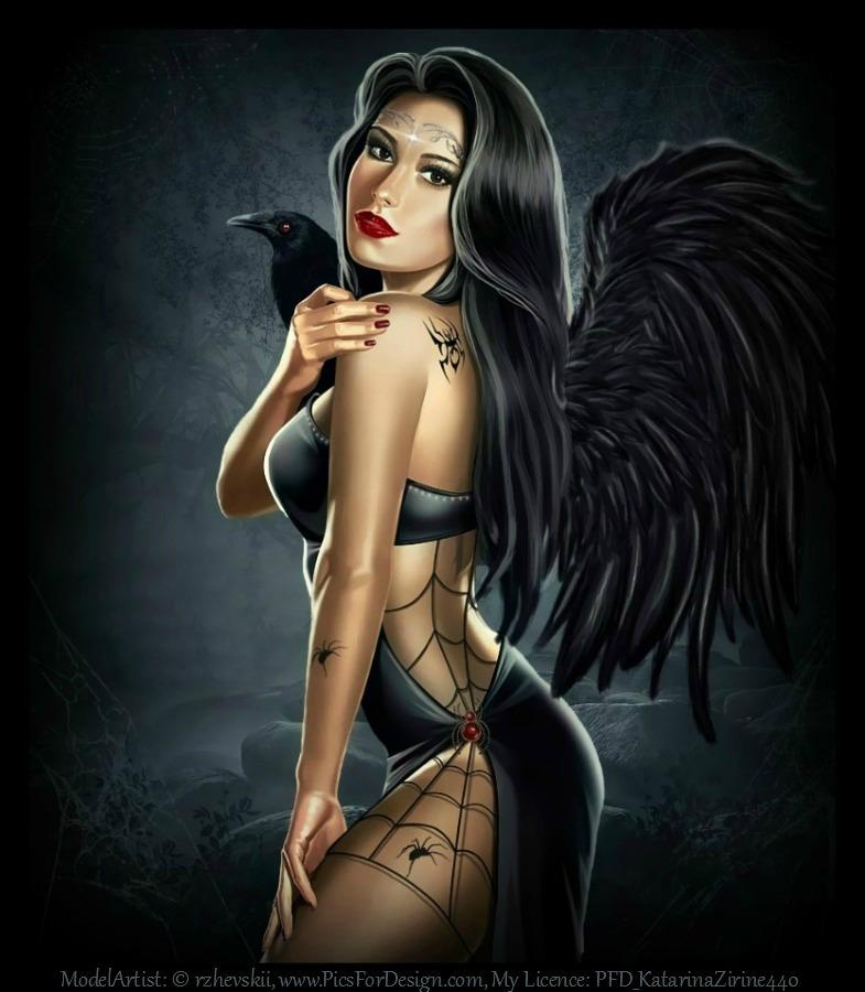 Фото Девушка- черный ангел с вороной на плече / by MoonZaphire/