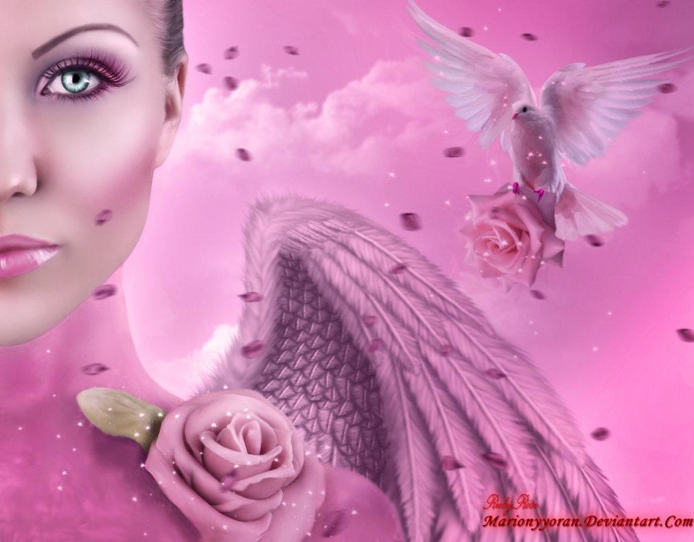 Фото Девушка ангел на розовом фоне с розой на плече на фоне голубя с розой / by RubyRosy/