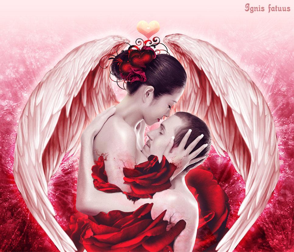 Фото Влюбленные ангелы на фоне ярких роз / by RubyRosy/
