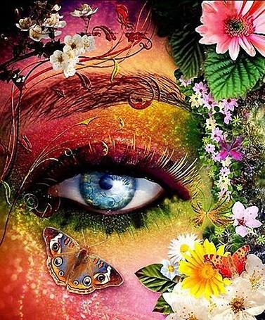 Фото Глаз девушки с цветами и бабочкой