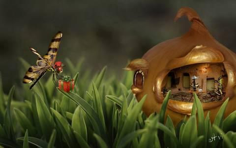 Фото Бабочка с подарком летит на чаепитие к кузнечику в домик из луковицы, by Avi li