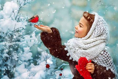 френч на ногтях со снежинками фото