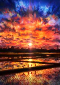 Фото Дети бегут вдоль рисовых полей на фоне заката