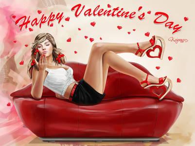 Фото Девушка лежит на диване и шлет воздушный поцелуй <u>фото губ и сердечек</u> (Happy Valentines Day), by Kajenna