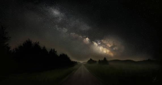 Фото Дорога, уходящая вдаль, на фоне ночного неба и млечного пути