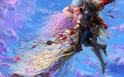 Фото Фэнтезийные боги целуются в полете