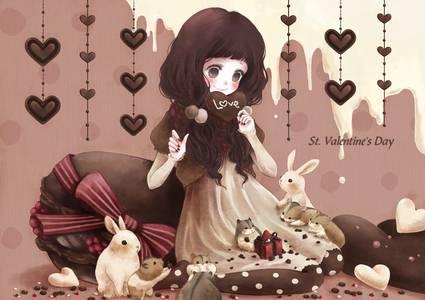 Фото Темноволосая девушка окруженная кроликами и хомяками держит шоколад в виде сердца / Love / Любовь / St. Valentines Day / Днем св. Валентина