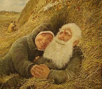 Фото Дедок и бабулька уединились на сеновале