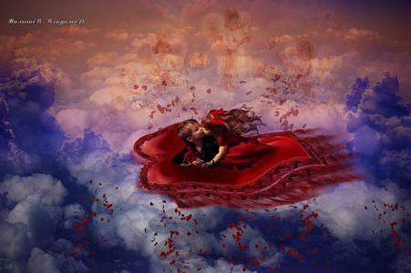 Фото Над облаками целующие мальчик и девочка летят на сердечном ковре мимо Ангелов Любви. которые обсыпают их сердечками
