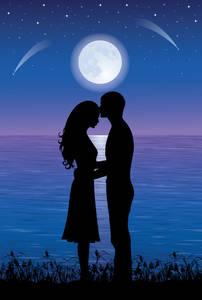 Фото Влюбленные у моря на фоне полной луны