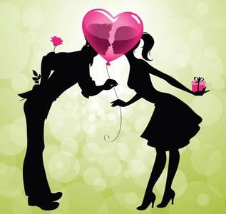 Фото Влюбленные с подарками за спиной смотрят друг на друга держа в руках воздушный шарик