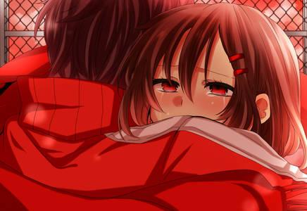 Фото Плачущая девушка обнимает своего парня