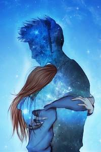 Фото Космический парень обнимает девушку