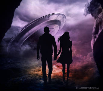 Фото Парень и девушка стоят на фоне космического аппарата, by Phatpuppyart-Studios