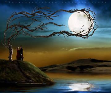 Фото Мужчина со скрипкой и девушка стоят на холме возле реки, рядом растет дерево, ветви которого обнимают луну, by Lora-Vysotskaya
