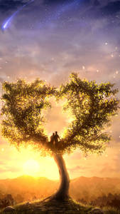 Фото Влюбленные сидят на дереве с кроной в виде сердца, by Juh-Juh
