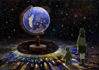 Фото Девушка и плюшевый медвежонок смотрят на огромный глобус