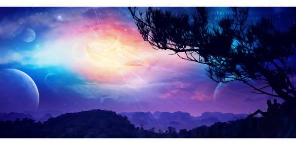 Фото Влюбленные сидят под деревом и наблюдают за планетами, by GeneRazAR