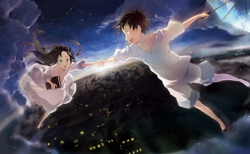 Фото Парень с девушкой взявшись за руки парят над городом