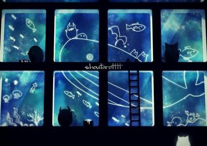 Фото Маленькие демоны рисуют на стекле морских обитателей, by shoutarotttt