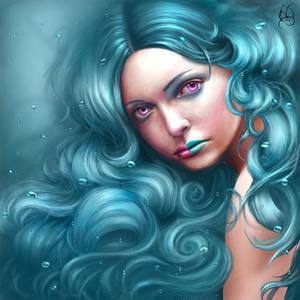 Фото Девушка с голубыми волосами с разноцветной помадой на губах / by setheye/