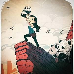 Фото Девочка стоит на горном утесе и держит в руках маленькую панду, пародия на мультфильм Король Лев