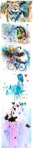 Фото Рисунки в стиле гранж-арт, где изображена девочка с разными животными, бабочками и птицами, художница Lora Zombie