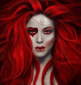 Фото Красивая гламурная девушка с ярко красными волосами и макияжем в виде сердечка / by LucasValencio/