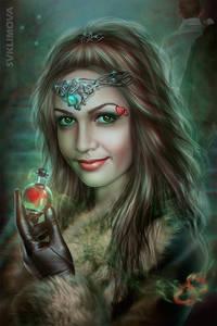 Фото Красивая гламурная девушка с украшениями держит колбочку с сердечком / by SvetlanaKLimova/