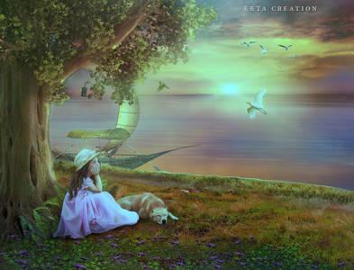 Фото Девочка сидит на берегу реки под деревом с собачкой и мечтает / by ektapinki/