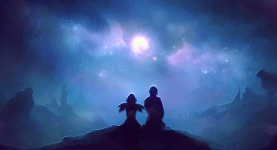 Фото Парень и девушка-ангел сидят на холме и смотрят в ночное небо, by Cubehero