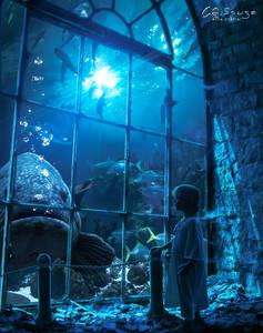 Фото Девочка смотрит на огромную рыбу за окном старого полуразрушенного здания, by genivaldosouza