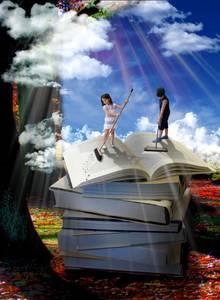 Фото Мальчик и девочка чистят книгу, by Zeina Basbous