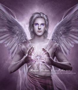 Фото Мужчина -ангел с сиреневыми глазами и магическим предметом в руках / ThelemaDreamsArt/