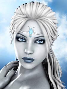 Фото Девушка на голубом фоне неба с голубыми глазами, губами и украшением на лбу / by igolochka/