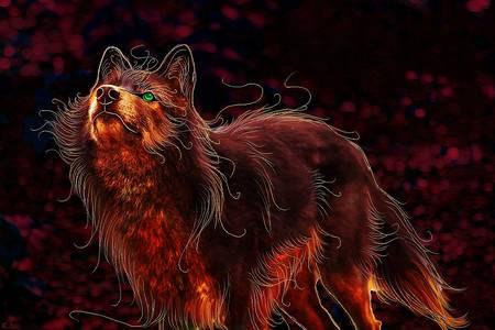 Фото Красивый волк с зелеными глазами, by Penguiduck