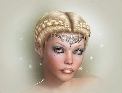 Фото Девушка-Эльф с красивыми губами и светлыми глазами с украшением на лбу / by Raindropthelf/