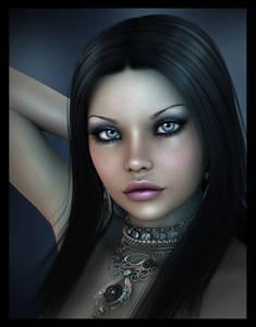 Фото Темноволосая красавица с серыми глазами и красивыми губами с украшением на шее / by igolochka/