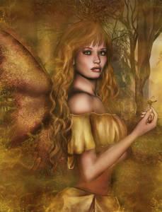 Фото Грустная девушка-ангелочек с бабочкой на руке / by SkellyKat/