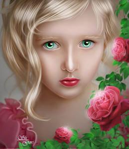 Фото Грустная девочка с красными розами и зелеными глазами / by GORI89/