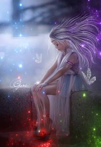 Фото Грустная девочка с сиреневыми волосами на фоне бабочек / by GORI89/