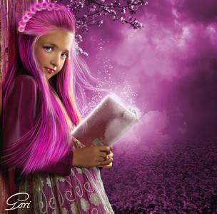 Фото Девочка с розовыми волосами с книгой в руке стоит под цветущим деревом / by GORI89/