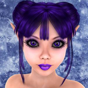 Фото Девочка-эльф с фиолетовыми глазами и губами на фоне снежинок / by WilliamRumley/