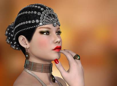 Фото Красивая гламурная девушка с ярко красными губами с украшениями / by Roys-Art/