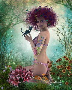 Фото Девушка с улыбкой на губах сидит на лужайке среди цветов с дракончиком в руке с бабочками в волосах / by LadyMiralys/