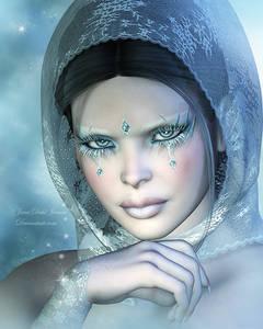 Фото Грустная девушка с инеем на глазах с покрытой головой среди снежинок / by janedj/