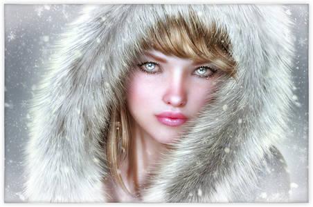 Фото Грустная девушка с серыми глазами в меховом капюшоне на фоне снежинок / by redragon/
