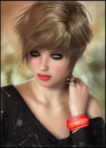 Фото Грустная девушка с короткой стрижкой, яркой помадой на губах с браслетом и колечком на руке / by redragon/