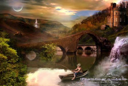 Фото Мальчик сидит в лодке на речке и ловит рыбу на фоне луны, деревьев и старинного замка / by irinama/