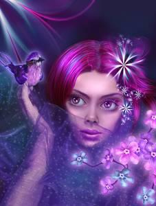 Фото Девушка с большими глазами украшенная цветами с птичкой / by lilok-lilok/